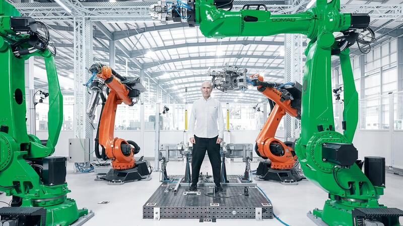 Industrial robots with belt drives.